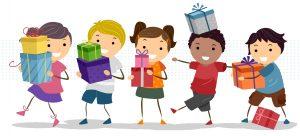 Illustration représentant des enfants avec des cadeaux