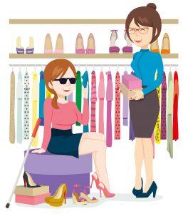 Dessin d'une femme aveugle dans une boutique